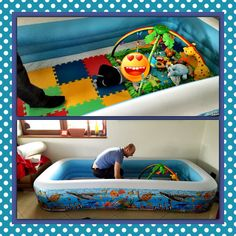 Thank you Pinterest for the best idea ever!!! Why spend money for tiny wooden playground fence when you can simply buy cheap but huge childrens' pool #play-pen #babyfurniture #babyroom #lifehack #babyhack #babytoys #babyproof #dogproof #baby