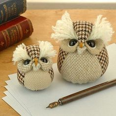 Cute tweed owls - make small for pincushions or large for paper weights / door stops: