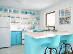 Sharing a tour of my kitchen open shelving with tips on creating an eclectic, styled, and vintage look with practical pieces. Budget-friendly turquoise kitchen makeover with vintage vibes and retro decor pieces. Turquoise Kitchen, Teal Kitchen, Kitchen Paint Colors, Diy Kitchen Cabinets, Shabby Chic Kitchen, Kitchen Decor, Kitchen Remodeling, Kitchen Ideas, Kitchen Storage