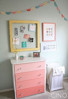 framed chicken wire, banner, ombre dresser. I am SO into ombre stuff right now. It's so pretty -- and you could do this in ANY color scheme.