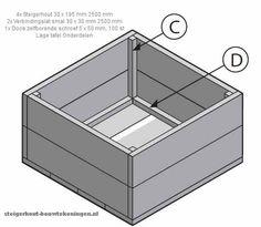 Bouwtekening voor een lage vierkante #salontafel of #tuintafel van steigerhout.