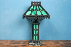 Jade Stained Glass Art Deco Industrial Lamp