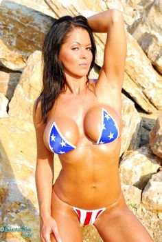 All girls Red, White and Blue. Happy of July Photos) Usa Bikini, Bikini Babes, Bikini Swimwear, Bikini Girls, Bikinis, Patriotic Swimwear, American Flag Bikini, America Girl, Comics Girls