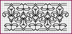 Blackwork Pattern - Lily Border  From The Blackwork Embroidery Archives