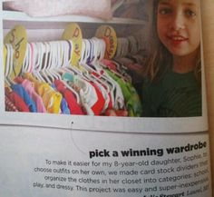 Organizing kids closets No link just this article picture. I'm going to try using cool whip container lids for the dividers instead of card stock .