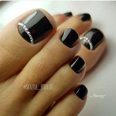 Black Toe Nails, Pretty Toe Nails, Cute Toe Nails, Pretty Pedicures, Black Nail, Toe Nail Color, Toe Nail Art, Nail Colors, Acrylic Nails