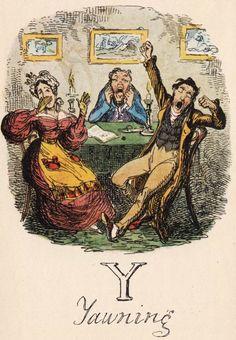 """Y: Yawning"" from ""A Comic Alphabet"" by George Cruikshank (1836)"