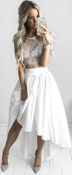 #summer #feminine #outfits   Sheer Lace Crop + Satin High Low Skirt