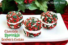 Six Sisters' Stuff: Chocolate Sprinkle Sandwich Cookies Recipe