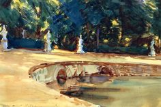 John Singer Sargent (American, 1856-1925), Pool In The Garden Of La Granja, 1912, watercolor, 30.48 x 45.72 cm, private collection