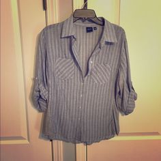 Blue Saks Fifth Avenue demim striped button up Blue Saks Fifth Avenue cotton button up // worn once // excellent condition // white stripes // gray side panels // sleeve tie backs Blue Saks Fifth Avenue  Tops Button Down Shirts