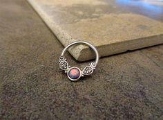 Purple Opal Fire Conch Hoop Earrings Cartilage by Purityjewel