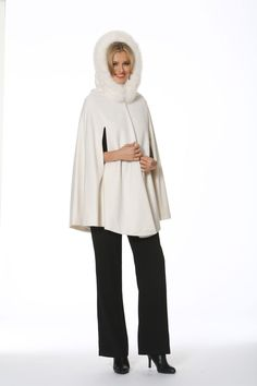A winter white hooded opera cape in gorgeous winter white cashmere is the modern version of the cloak that every well dressed woman wore to fend off the Winter Poncho, Cashmere Cape, Poncho Coat, White Fox, Work Casual, Winter White, Well Dressed, Looks Great, Fashion Cape