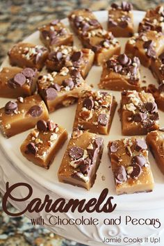 Caramels with Chocolate and Pecans from Jamie Cooks It Up! #homemadecandy, #holidaytreats, #jamiecooksitup