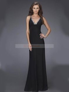 2012 Spring Style Sheath / Column V-neck Beading Sleeveless Floor-length Chiffon Prom Dresses / Evening Dresses (SZ015160 )