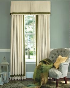 examples of window treatments | An inverted pleat valance and pinch pleat drapes with trim accent