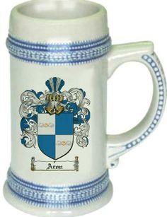 Aron Coat of Arms / Family Crest stein mug $21.99