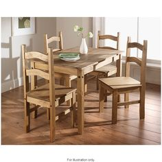 touch of luxury to your dining room with the Rio 5 Piece Dining Set Cheap Dining Tables, Pine Dining Table, Dining Table Chairs, Kitchen Chairs, Design Your Kitchen, Kitchen Layout, G Shaped Kitchen, Dining Furniture Sets, Pine Furniture