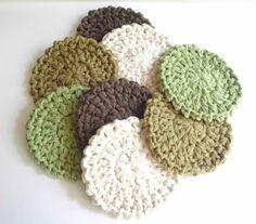 Crochet Coasters  Set of Eight  Neutral Colors by pomegranatefarm, $19.50