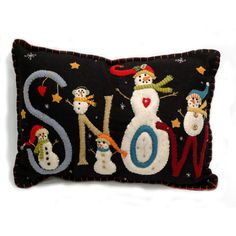 "Wool Applique | SNOW"" Christmas Pillow - Wool Felt Applique 