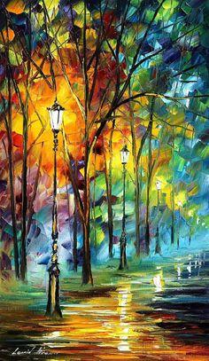 Cute Romantic Alley Landscape Wall Art Oil by AfremovArtStudio