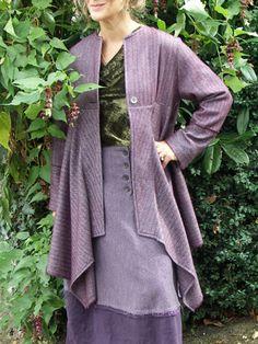 new york jacket in soft cashmere, over velvet cowl neck top and winter fringe skirt