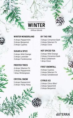 doTERRA winter diffuser blends