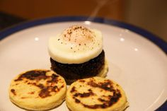 Poached eggs, Black and white pudding on potato cakes. How tasty is that?