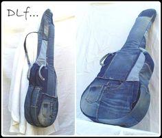 Housse de guitare en jean recyclé - etui et housse - La Boutik Récup' de Dlf... - Fait Maison