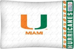 University of Miami Hurricanes Pillow Case by Sports Coverage. $11.29. Blend of cotton and polyester. Machine washable. One standard Pillowcase, size 20 x 30 in. (51x76 cm) to fit 20 x 26 in. (51 x 66 cm) pillow. Standard pillow case. Goes with all bedding sizes. PILLOW CASE. Genuine licensed merchandise. Made in USA. From the College Bedding Collection. Officially licensed University of Miami Hurricanes coordinating pillow case to match jersey Hurricanes comforte...