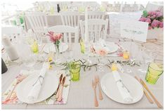 Chic spring wedding table decoration with grey and olive colour scheme and copper cutlery. Destination wedding at Seaside Restaurant Lefkada Greece
