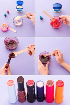DIY your own lipstick using vaseline + bubblegum as a base. Then create a custom color with food coloring or opt for the natural hue from the gum.
