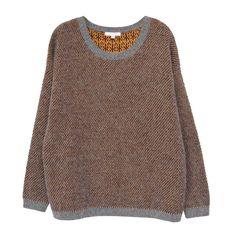 pull oversize marron et gris