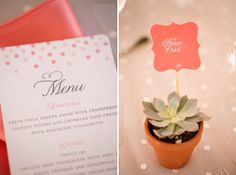 pink coral menu wedding reception succulent favors