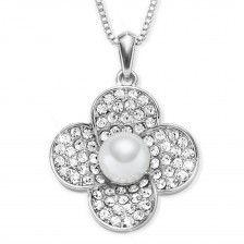 """Halskette """"Blume"""" mit echter Swarovski® Perle"""