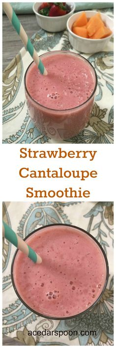 Cantaloupe Smoothie Strawberry Cantaloupe Smoothie is fruity, refreshing and makes a great afternoon pick me up. // A Cedar SpoonStrawberry Cantaloupe Smoothie is fruity, refreshing and makes a great afternoon pick me up. // A Cedar Spoon Cantaloupe Smoothie, Smoothie Fruit, Cantaloupe Recipes, Breakfast Smoothies, Smoothie Drinks, Healthy Smoothies, Healthy Drinks, Smoothie Recipes, Vegetable Smoothies