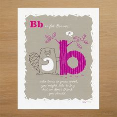 Alphabet Art Beaver Alphabet Print ABC Nursery Decor in by gumo