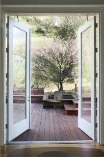 The out-swing French door is a variant on the hinged patio door. While these doors won't have an affect on the interior furniture placement, they do have a downside.