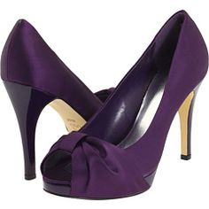 $36.99 @ 6pm. Standard bridesmaid shoe design. Purple for a grey dress?