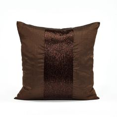 Silk Dupioni Chocolate Brown Sequins Stripe Throw Pillow Cover