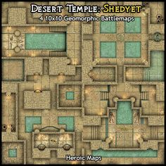 Heroic Maps - Geomorphs: Desert Temple Shedyet - Heroic Maps | Buildings | Caverns & Tunnels | Dungeons | Egyptian | Ruins | Temples & Churches | Geomorphs | Tombs | Desert | DriveThruRPG.com
