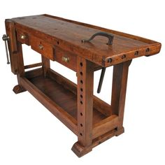 French Country Style Carpenter's Workbench | From a unique collection of antique and modern industrial and work tables at http://www.1stdibs.com/furniture/tables/industrial-work-tables/