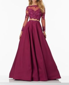 Long Sleeves Prom Dresses, Lace Prom Dress, Burgundy