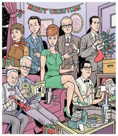 """""""MAD MEN""""   Holiday Guide cover illustration for BOSTON PHOENIX  Art Direction by Kristen Goodfriend  November 2009"""