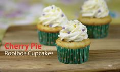 Put a little Cherry Pie into your cupcakes! (Cherry Pie Rooibos to be exact! Steeped Tea's rooibos tea can be used for more than just drinking. Baking Cookbooks, Dessert Cookbooks, Cherry Pie Cupcakes, Vegan Sour Cream, Dairy Free Options, Tea Recipes, Recipies, Sweet, Desserts