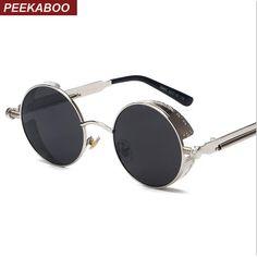 Peekaboo alta calidad retro redondo mujeres gafas de sol redondas steampunk  gafas de sol de metal b42907660635