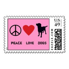 Peace Love Dogs Postage. This great stamp design is available for customization or ready to buy as is. Of course, it can be sent through standard U.S. Mail. Just click the image to make your own!