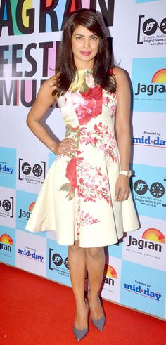 Priyanka Chopra in a floral printed fit and flared full skirt dress from Blumarine at 5th Jagran Film Festival launch party.