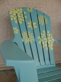 Spray Paint and Stencil and Plastic Adirondack Chair Plastic Adirondack chairs are perfect for enjoying sunny weather. Why not give them a new look with a little spray paint and some fun stencils? Patio Chairs, Cool Chairs, Outdoor Chairs, Outdoor Lounge, Adorondack Chairs, Dining Chairs, Office Chairs, Outdoor Fun, Outdoor Ideas