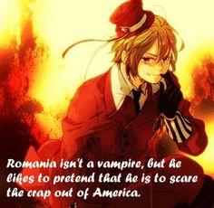 Vampire Romania, and America Hetalia Headcanon Hetalia Romania, Hetalia Headcanons, Hetaoni, Hetalia Characters, Hetalia Fanart, Hetalia Axis Powers, Usuk, Yandere, Me Me Me Anime